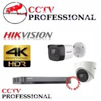 PAKET HIKVISION CCTV 5 CAMERA 8 CH 8MP LENGKAP 8 MEGAPIXEL 4K