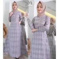 Gamis Wanita / MAXI Dress / Fashion Muslim Motif Kotak Tartan Pink