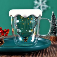 Promo Creative Double-Layer Glass Christmas Tree Star Water Cup