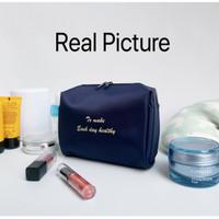 Termurah Korea Cosmetic Pouch Waterproof Tas (WRF16) - Navy Sale