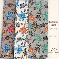BEST Kain Batik Katun Prima Printing Untuk Kemeja & Kebaya BK12 - A Cokelat