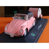 Diecast CARARAMA VW Beetle Trailer Pink Skala 1:43 1/43 not tomica