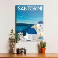 Santorini Poster Dekorasi Kayu Hiasan Pajangan Dinding Bingkai Unik