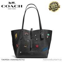 Coach Market Tote Bag With Souvenir Embroidery - Coach Original 100%
