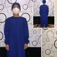 bajo ok jubah operasi surgical gown plus tutup kepala bahan drill impo