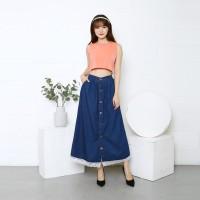 MYREDO - Rok Jeans Panjang Button Up Danira Bawah Renda