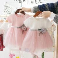 Baju Anak Perempuan Lengan Pendek Motif Bunga Mawar Dress Anak Cewek