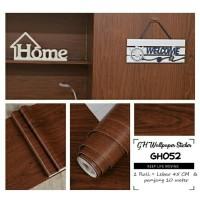 Home Wallpaper Sticker Dinding Kayu Polos Gelap - 45cm x 10 m