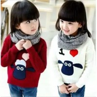 Baju Sweater anak perempuan rajut halus Love Sheep KIDS