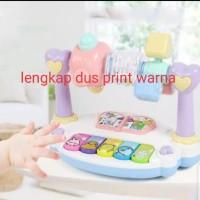 Mainan music piano bayi dilengkapi kerincingan + box print warna