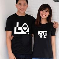 BAJU couple blok love / KAOS pasangan BIG SIZE M L XL ( dpt 2 pc )