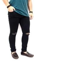 Black skinny Ripped Jeans-Celana sobek Pria