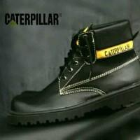 Sepatu Safety Caterpillar Shoes Boats High Bahan Kulit Ujung Besi