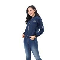 Jaket / Outer Wanita Fashion Biru Navy Fleece INF 793