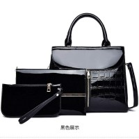 READY STOK JT6053-black Tas Handbag Wanita 3in1 Cantik Import Terbaru