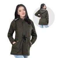 Jaket / Outer Wanita Fashion Hijau Olive Canvas INF 467