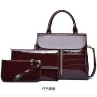 READY STOK JT6053-red Tas Handbag Wanita 3in1 Cantik Import Terbaru