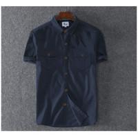 Baju Kemeja Casual Tactical Artilerry Polos Lengan Pendek Fashion - Biru, S