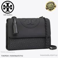 Tory Burch Fleming Convertible Black Matte Shoulder Bag Original 100%
