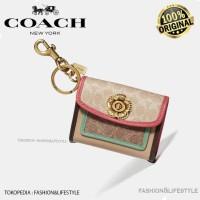 Coach Mini Wallet Parker Charm Colorblock with Keychain Original 100%