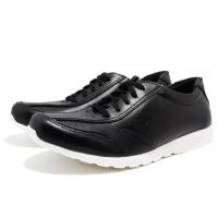 Sepatu Casual Sneakers Formal Pria Sol Karet Tali d094 Hitam Putih