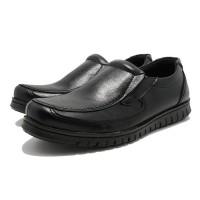 Sepatu Pantofel Casual Formal Pria d091 Sol Karet Slip On Hitam