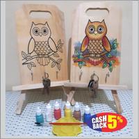 Mainan Edukasi Unik Mewarnai Talenan Kayu Owl