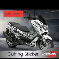 STRIPING CUTTING STICKER NMAX motor putih sticker black 02