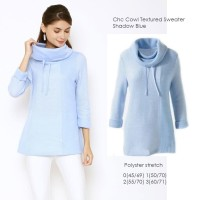 CHC Cowl Textured Sweat Shadow Blue Sweater Sweatshirt