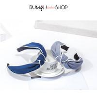 RFS - Fabric Bow Headband Hairband Bandana Bando - Gray