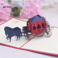 GA Kartu Ucapan Pop Up 3D Kreatif Aksen Kereta Kuda untuk Hadiah