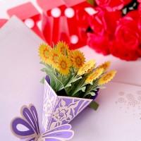 Kartu Ucapan Model Bouquet Desain Bunga 3D dengan Amplop