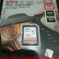 SD Card Sandisk Ultra 128 gb speed 100 mbps SDXC UHS I Card