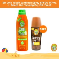 Beach Hut One Touch Sunblock 177ml FREE Tanning Dry Oil SPF 0 150ml