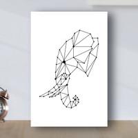 Poster Minimalist Geometric Gajah - Poster Kayu MDF