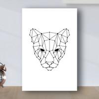 Poster Minimalist Geometric Tiger - Poster Kayu MDF