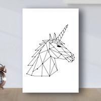 Poster Minimalist Geometric Unicorn - Poster Kayu MDF