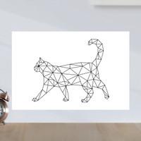 Poster Minimalist Geometric Kucing - Poster Kayu MDF