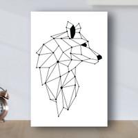 Poster Minimalist Geometric Serigala - Poster Kayu MDF - Putih