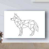 Poster Minimalist Geometric Anjing - Poster Kayu MDF