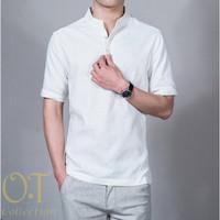 [koko syarif white OT] baju koko pria katun twill lengan pendek putih