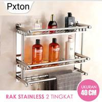 Rak Kamar Mandi E19/E20 Toilet /Dapur Gantung Dinding Stainless 1-2 WC