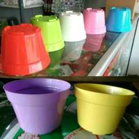 pot bunga warna warni