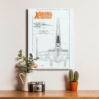 Xwing Fighter Star Wars Starwars Blue Print Walldecor Poster Kayu
