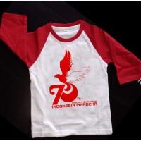 Kaos Distro Baju Tshirt Raglan Hut RI 75