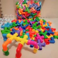 mainan block brick lego pipa pipe tanpa roda isi 130pcs/mainan block