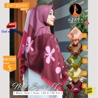 Jilbab Segi Empat Voal Noor Syari Lc Motif 5 by Azara Scarf Hijab Ori