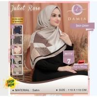 Jilbab Segi Empat Juliet Rose Satin Motif 7 By Damia Scarf - Hijab Ori