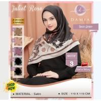 Jilbab Segi Empat Juliet Rose Satin Motif 3 By Damia Scarf - Hijab Ori