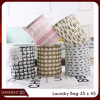 Keranjang Baju Laundry Bulat Pakaian Kotor Lipat Canvas Laundry Bag